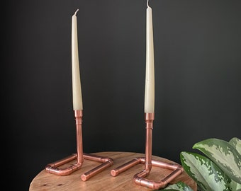 Copper Candlestick Holder - Taper Candles - Steampunk - Handmade - Copper Pipe - Industrial - Valentines Day - Copper Wedding Anniversary