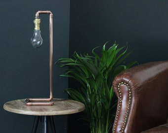 Mothers Day - Industrial Copper Lamp - Pipe - Copper Wedding Anniversary - Industrial Lighting - Handmade - Steampunk Lamp - Fathers Day