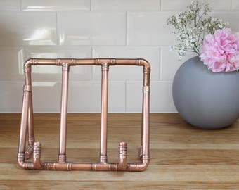 Mothers Day Copper Recipe Book Stand | Cookbook Stand | Copper Pipe | Handmade | Industrial | Kitchen | Cooking | Copper Anniversary