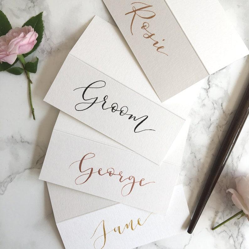 White Tent-Fold Place Cards  Wedding Calligraphy  Black /& Metallic Inks
