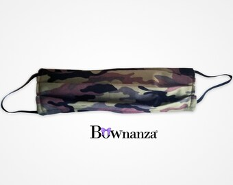 CAMOUFLAGE | Fabric Face Mask w/Sewn in Filter | 100% Cotton | Washable & Reusable | Double Layer | Elastic Ear Loops