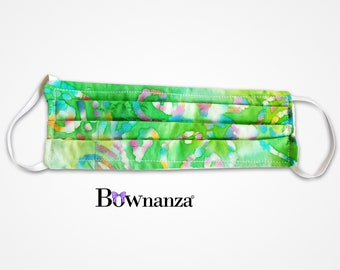 GREEN BATIK | Fabric Face Mask w/Sewn in Filter | 100% Cotton | Washable & Reusable | Double Layer | Elastic Ear Loops