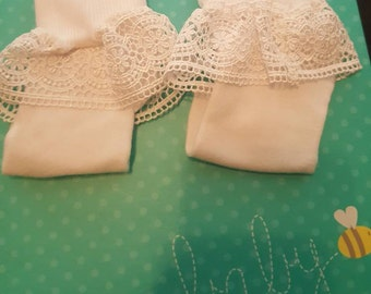 Little Girls|Girls|Infant|Toddler Occasion Cuffed White Ruffled Lace Socks