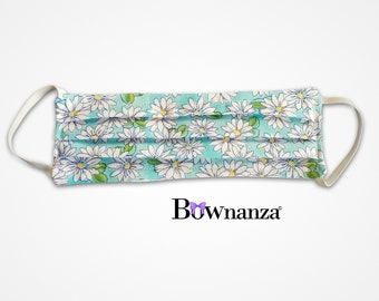 DAISY FLOWERED | Fabric Face Mask w/Sewn in Filter | 100% Cotton | Washable & Reusable | Double Layer | Elastic Ear Loops