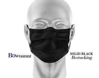 SOLID BLACK | Fabric Face Mask w/Sewn in Filter | Washable/Reusable | Double Layer