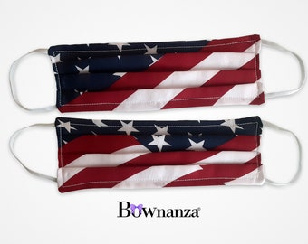 AMERICAN FLAG   MEMORIAL   Two Options   Fabric Face Mask w/Sewn in Filter   Washable & Reusable   Double Layer   Elastic Ear Loops