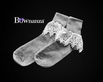 Women's 100% Cotton Cuffed Lace Trim Socks