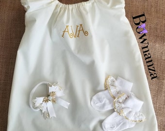 Baby | Toddler | Girl's| MONOGRAM Cotton Dress Ensemble for Christening, Baptism, Wedding or any Special Occasion
