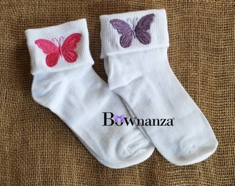 GIRL'S EMBROIDERED BUTTERFLY |Cuffed Socks great graduation or birthday gift