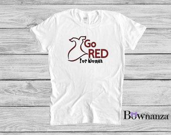 Go Red | For Women | Heart Health | Women's Adult T-Shirt | 100% Cotton