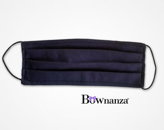 NAVY BLUE | Fabric Face Mask w/Sewn in Filter | Adult and Kids| Washable & Reusable | Double Layer| Elastic Ear Loops