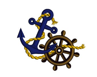 Nautical Anchor Ropes Decorative Ship Wheel Marine Summer Holiday Seaside Machine Embroidery Design Digital Instant Download Hoop Size 4x4in