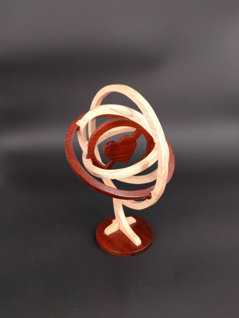 Wooden Sphere Heart Custom wooden gifts Wood art wood image 0
