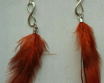 Beautiful infinity earrings feathers
