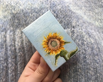 Oil Painting - Sunflower - Floral Painting -2x3 inch
