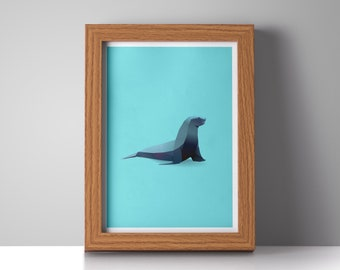 Modern Seal Art Print, Aquatic Poster, Seal Illustration, Aquatic Gifts, Seal Nursery Art, Sea Animal Art, Cute Seal Print, Modern Decor