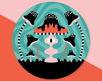 Mushroom Sticker - Round