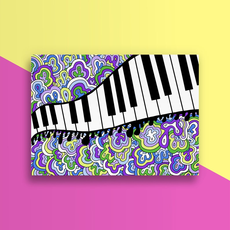 Just a Note Card - Piano - Musical - Just A Note to Say Hello - Handmade