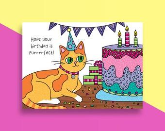 CLEARANCE - Cat Birthday Card - Happy Birthday - Cake