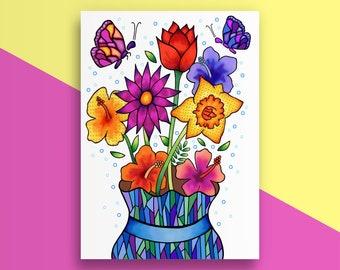 Get Well Card - Floral Illustration - Butterflies - Get Well Soon