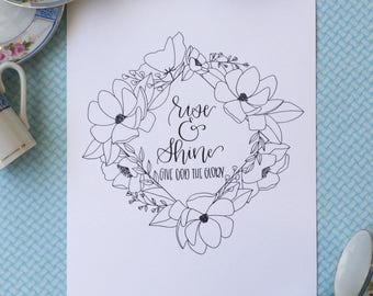 Rise & Shine Print | Magnolias and Wildflowers | Floral Design | Botanical Line Drawing | Modern Calligraphy