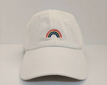 3664808e156 Rainbow Embroidered Unstructured 100% Cotton Polo Adjustable Baseball cap  dad hat