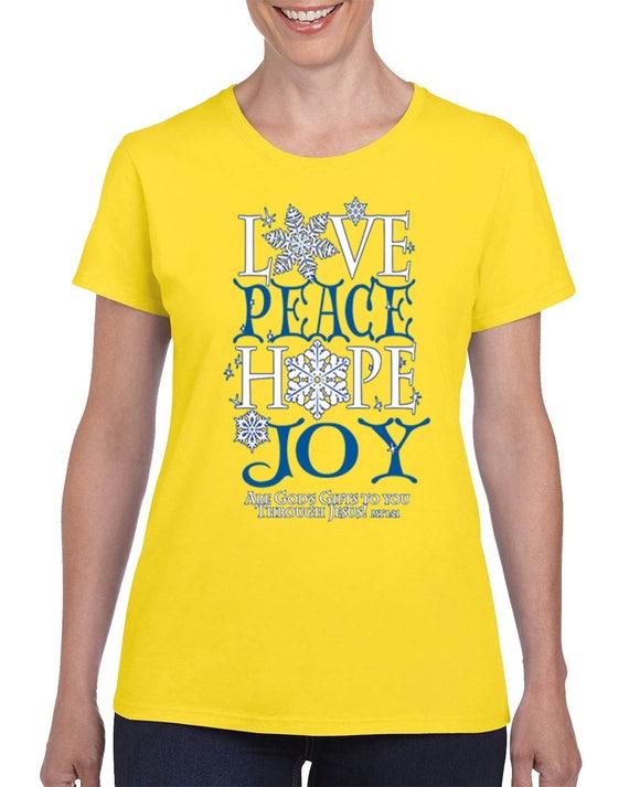 Religious Christmas Shirt Peace Love Santa Sweatshirt Holiday Crewneck Women/'s Christmas Top Comfy oversized Joy peace Love blouse