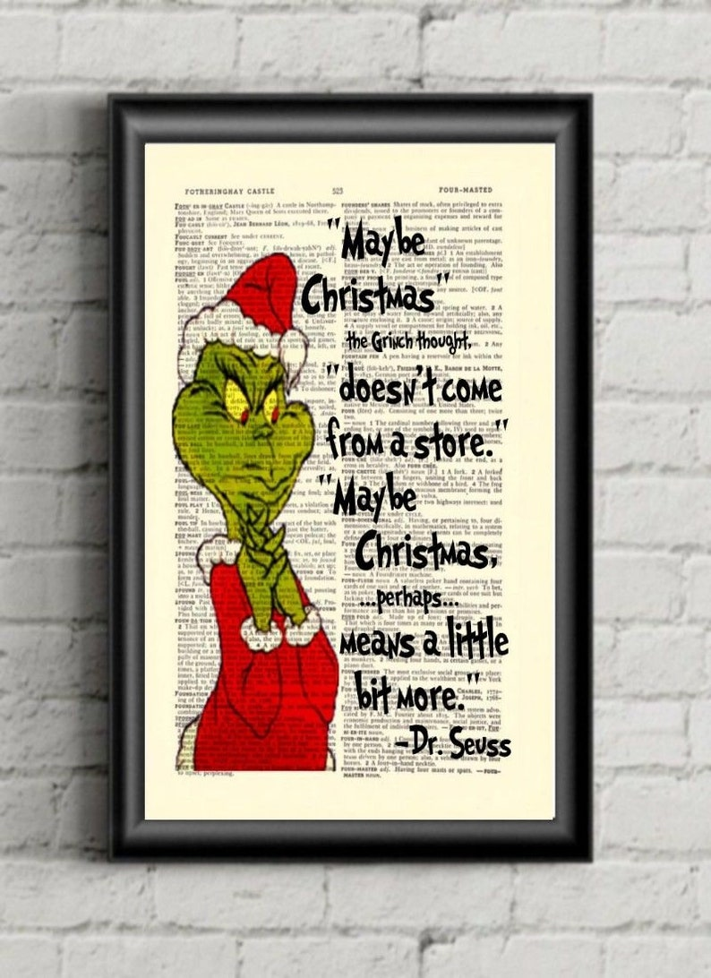 How The Grinch Stole Christmas Quotes.Grinch Quote Grinch Stole Christmas Dr Seuss Dictionary Art Print