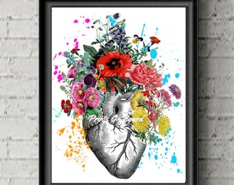 Watercolor  Heart Art Anatomical heart and flowers, Human Heart . heart print, Flower print, Art Poster-Flowers Print- Science Gift.