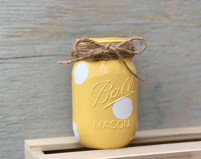 Featured listing image: Yellow Polka Dot Mason Jar