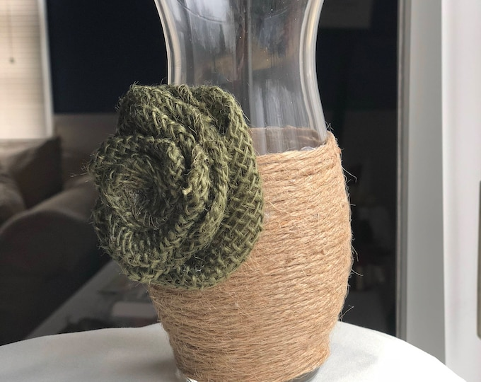 Featured listing image: Burlap Rose and Jute Twined Vase