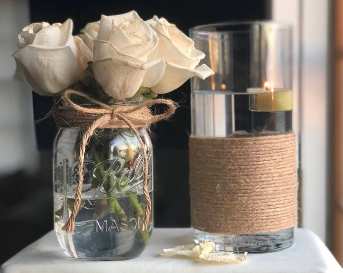 Featured listing image: Mason Jar Centerpiece, Elegant Vase, Twirled & Twined