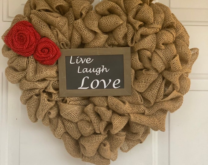 Featured listing image: Heart Shaped Burlap Wreath