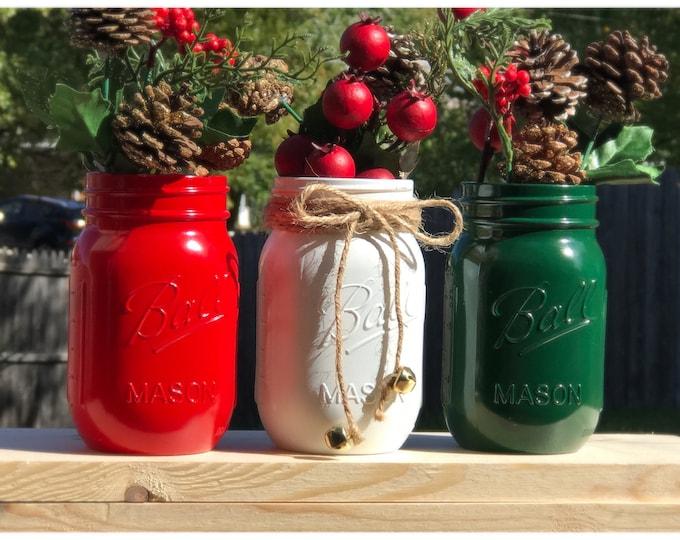 Featured listing image: Tricolored Christmas Jars