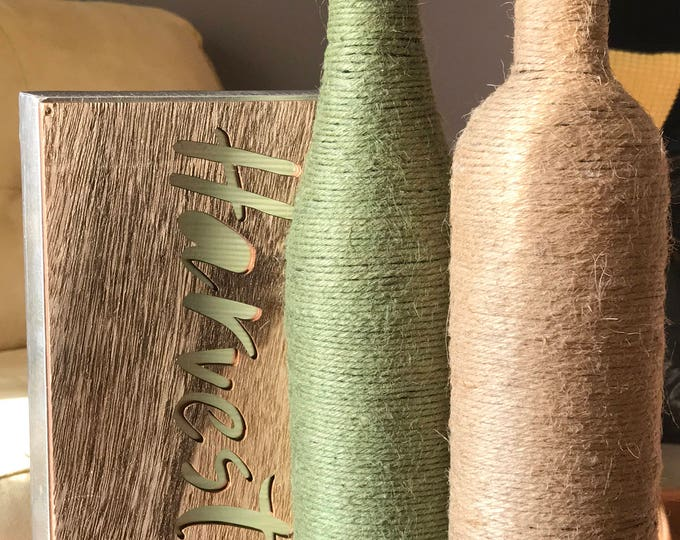 Featured listing image: Green and Tan Jute Twine Bottles