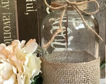 Small Burlap Jar