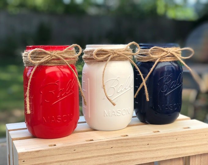 Featured listing image: Red, White & Blue Mason Jars