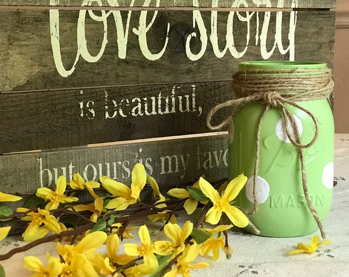 Featured listing image: Green Polka Dot Mason Jar