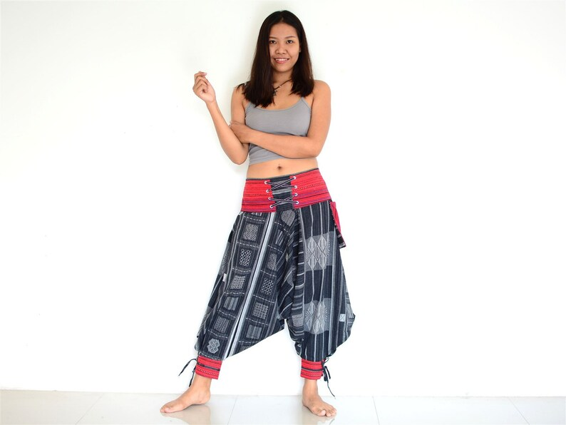 Harem pants women man black white Hmong Style handmade from 100/% cotton Aladdin Pants Yoga pants