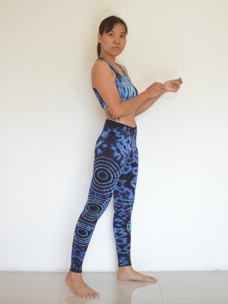Leggings Tie Dye Batik Yoga pants Black Blue pattern