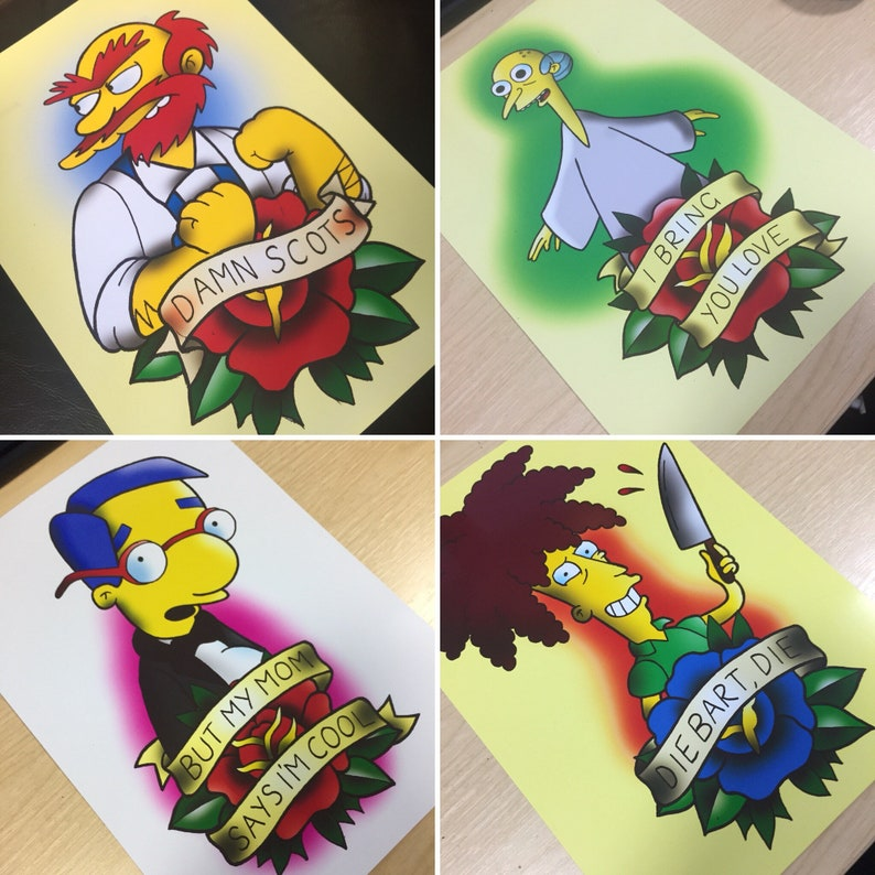5f87ee587 The Simpsons Poster Print Wall Art A4 Artwork FULL SET OF | Etsy