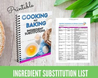 List of 70 Cooking Baking Recipe Ingredient Substitutions, Kitchen Substitution,  Digital Kitchen Substitution List, Digital Ingredient List