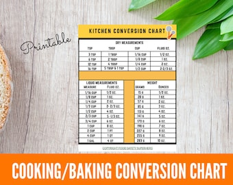Cooking Conversion Chart, Baking Conversion Chart, Recipe Reduction Chart, Printable Conversion Chart, Kitchen Reference Chart