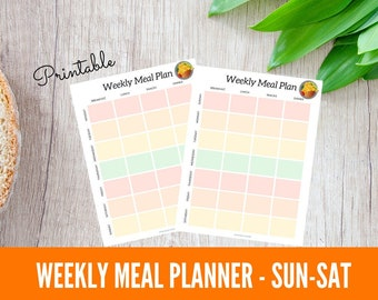Weekly Meal Planner Printable, Weekly Meal Plan SUNDAY Start, Family Meal Planning, Simple Meal Plan, Meal Prep, Meal Planning Binder Page