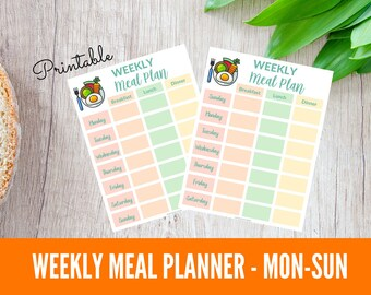 Printable Weekly Meal Planner Monday Start