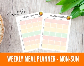 Weekly Meal Planner Printable, Weekly Meal Plan MONDAY Start, Family Meal Planning, Simple Meal Plan, Meal Prep, Meal Planning Binder Page
