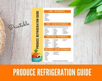 Printable Produce Refrigeration Guide, Food Storage Guide, Printable Food Storage Reference Chart, Fresh Fruit Storage, Fresh Vegetable