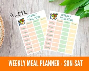 Printable Weekly Meal Planner Printable Sunday Start
