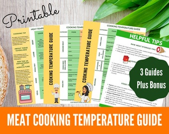 Printable Meat Cooking Temperature Guides | Printable Kitchen Cheat Sheet | Printable Cooking Chart