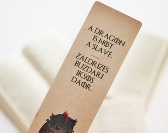 Drogon paper bookmark   A dragon is not a slave   Mother of Dragons   Dragons   Game of Thrones